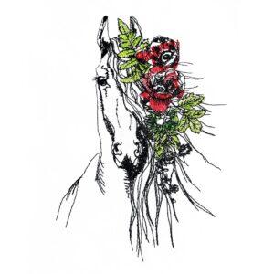 Pferd mit Blumenschmuck - StickZebra