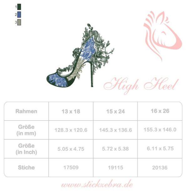 High Heel Stickdatei - StickZebra