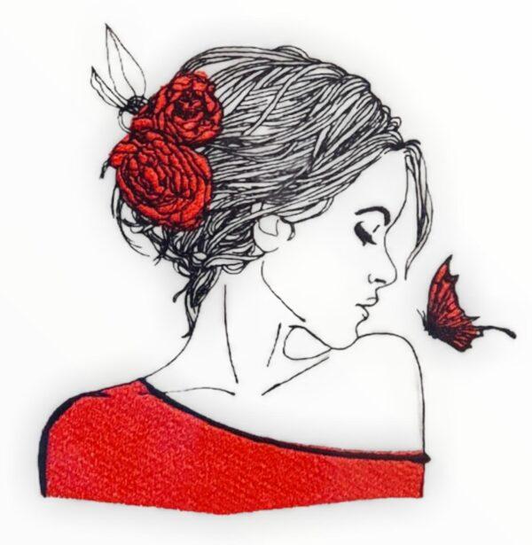 "Doodle Frau ""Isabella"" Stickdatei - StickZebra"