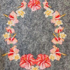 Blumenrahmen Hibiskus Stickdatei - StickZebra
