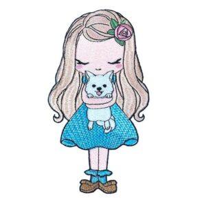 Doodle Mädchen mit Hund Stickdatei - StickZebra