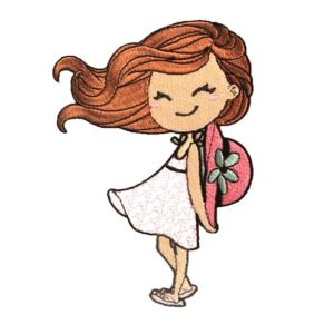 Doodle Mädchen mit Sonnenhut - StickZebra
