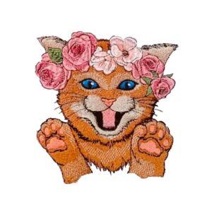 Kätzchen mit Blumenkranz - StickZebra