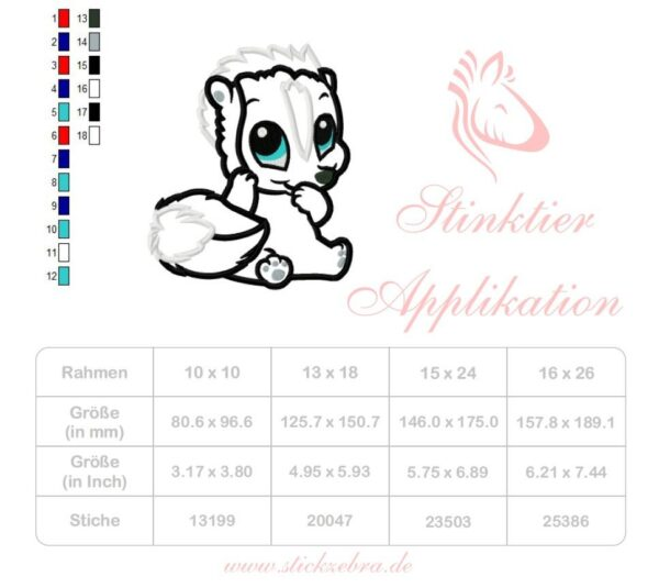 Stinktier Stickdatei Applikation - StickZebra