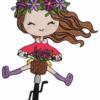 Doodle Mädchen Fahrrad Stickdatei - StickZebra