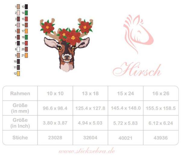 Hirsch mit Weihnachtsstern Stickdatei - StickZebra